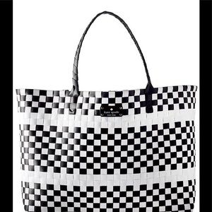 Kate Spade black and white woven weekender tote
